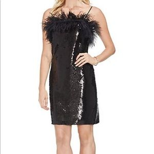 Vince camuto sequin and feather dress